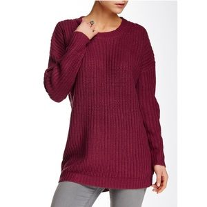 NWT Poof Shaker Knit Burgundy Sweater